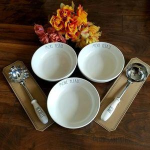 Rae Dunn 3 Pasta Bowls w/ 2 Matching Spatulas Perf